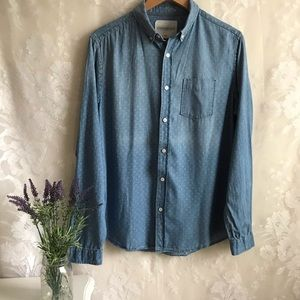 Aeropostale Blue Denim Button Up Shirt M